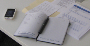 Photo of my LiveScribe pen and notebook